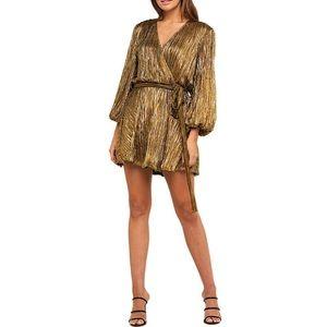 Bardot Bellissa Pleated Gold Faux Wrap Dress